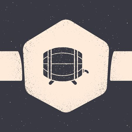 Grunge Wooden barrel on rack with stopcock icon isolated on grey background. Monochrome vintage drawing. Vector Illustration