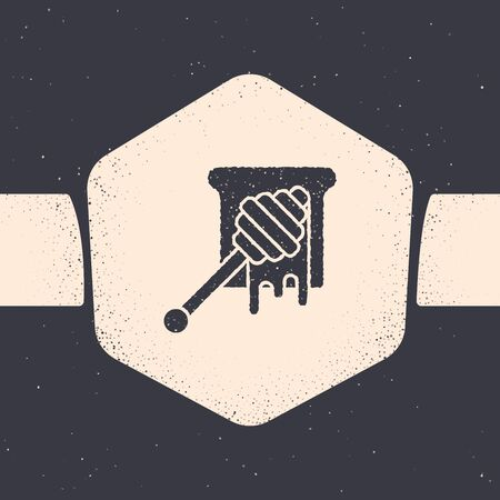 Grunge Honey dipper stick with dripping honey icon isolated on grey background. Honey ladle. Monochrome vintage drawing. Vector Illustration Иллюстрация
