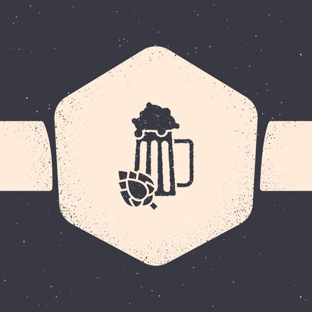 Grunge Glass of beer and hop icon isolated on grey background. Monochrome vintage drawing. Vector Illustration Фото со стока - 129879629