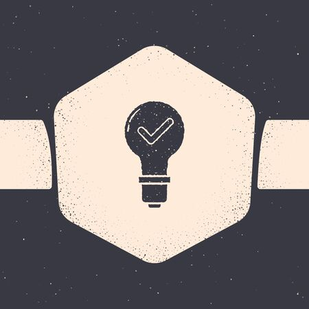 Grunge Light bulb and check mark icon isolated on grey background. Concept of idea. Monochrome vintage drawing. Vector Illustration