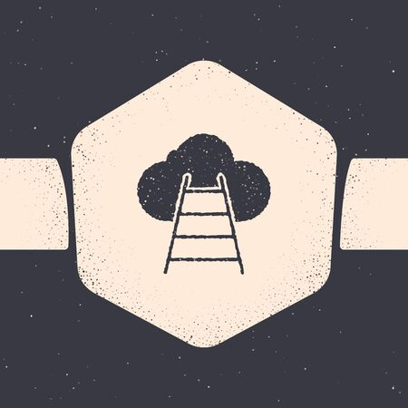 Grunge Ladder leading to cloud icon isolated on grey background. Stairs leading to the cloud. Monochrome vintage drawing. Vector Illustration