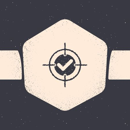 Grunge Target and check mark icon isolated on grey background. Dart board sign. Archery board icon. Dartboard sign. Business goal concept. Monochrome vintage drawing. Vector Illustration Stockfoto - 129685148