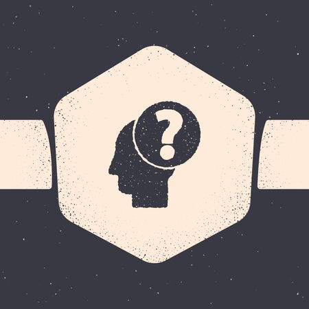 Grunge Human head with question mark icon isolated on grey background. Monochrome vintage drawing. Vector Illustration
