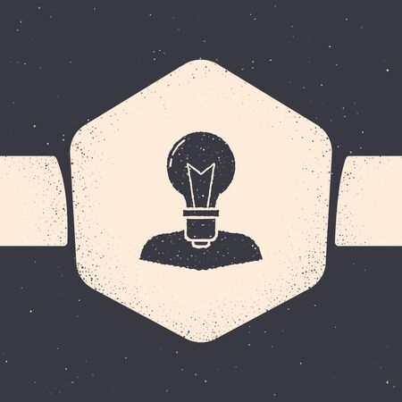 Grunge Human head with lamp bulb icon isolated on grey background. Monochrome vintage drawing. Vector Illustration