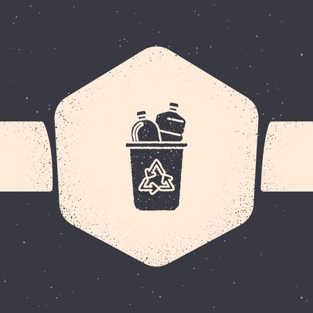 Grunge Recycle bin with recycle symbol icon isolated on grey background. Trash can icon. Garbage bin sign. Recycle basket sign. Monochrome vintage drawing. Vector Illustration  イラスト・ベクター素材