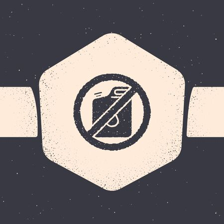 Grunge No canister for gasoline icon isolated on grey background. Diesel gas icon. Monochrome vintage drawing. Vector Illustration
