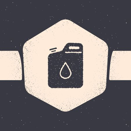 Grunge Canister for gasoline icon isolated on grey background. Diesel gas icon. Monochrome vintage drawing. Vector Illustration Illustration