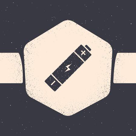 Grunge Battery icon isolated on grey background. Lightning bolt symbol. Monochrome vintage drawing. Vector Illustration