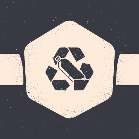 Grunge Recycling plastic bottle icon isolated on grey background. Monochrome vintage drawing. Vector Illustration  イラスト・ベクター素材