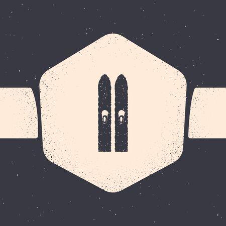 Grunge Ski and sticks icon isolated on grey background. Extreme sport. Skiing equipment. Winter sports icon. Monochrome vintage drawing. Vector Illustration Çizim