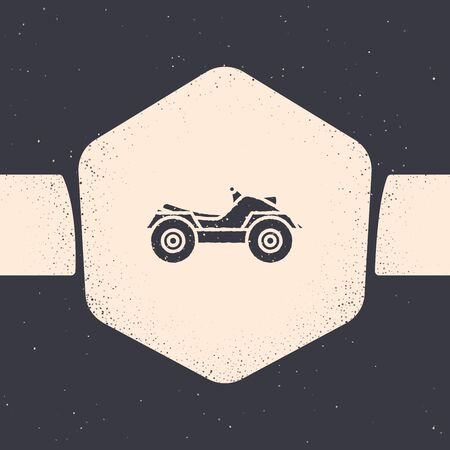 Grunge All Terrain Vehicle or ATV motorcycle icon isolated on grey background. Quad bike. Extreme sport. Monochrome vintage drawing. Vector Illustration