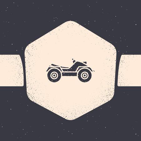 Grunge vehículo todo terreno o icono de motocicleta ATV aislado sobre fondo gris. Cuatrimoto. Deporte extremo. Dibujo monocromático de la vendimia. Ilustración vectorial