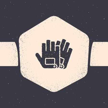 Grunge Handschuhe-Symbol auf grauem Hintergrund isoliert. Extremsport. Sportausrüstung. Monochrome Vintage-Zeichnung. Vektorillustration