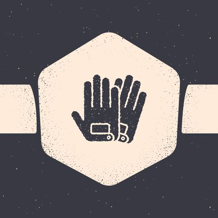 Grunge Gloves icon isolated on grey background. Extreme sport. Sport equipment. Monochrome vintage drawing. Vector Illustration Иллюстрация