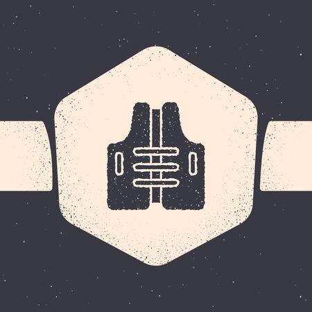 Grunge Life jacket icon isolated on grey background. Life vest icon. Extreme sport. Sport equipment. Monochrome vintage drawing. Vector Illustration