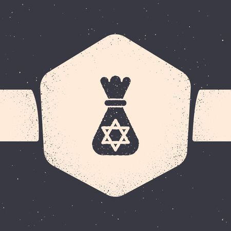 Grunge Jewish money bag with star of david icon isolated on grey background. Currency symbol. Monochrome vintage drawing. Vector Illustration
