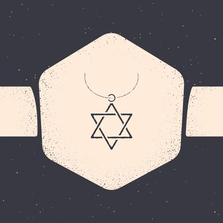 Grunge Star of David necklace on chain icon isolated on grey background. Jewish religion symbol. Symbol of Israel. Jewellery and accessory. Monochrome vintage drawing. Vector Illustration