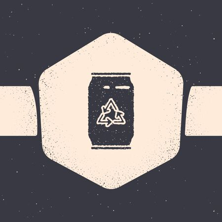 Grunge Can with recycle symbol and can icon isolated on grey background. Trash can icon. Garbage bin sign. Recycle basket sign. Monochrome vintage drawing. Vector Illustration