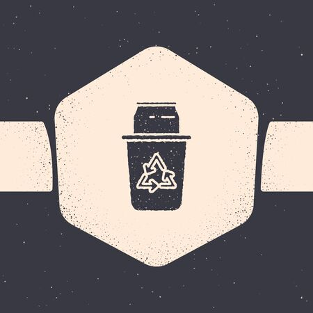 Grunge Recycle bin with recycle symbol and can icon isolated on grey background. Trash can icon. Garbage bin sign. Recycle basket sign. Monochrome vintage drawing. Vector Illustration