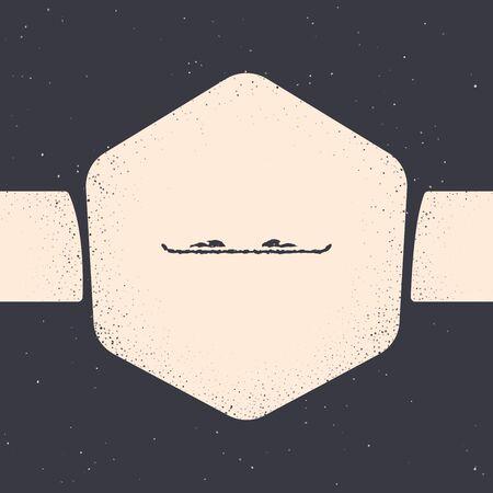 Grunge Snowboard icon isolated on grey background. Snowboarding board icon. Extreme sport. Sport equipment. Monochrome vintage drawing. Vector Illustration Illusztráció