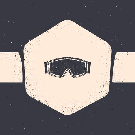 Grunge Ski goggles icon isolated on grey background. Extreme sport. Sport equipment. Monochrome vintage drawing. Vector Illustration