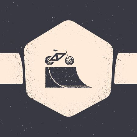 Grunge Bicycle on street ramp icon isolated on grey background. Skate park. Extreme sport. Sport equipment. Monochrome vintage drawing. Vector Illustration