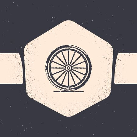 Grunge Bicycle wheel icon isolated on grey background. Bike race. Extreme sport. Sport equipment. Monochrome vintage drawing. Vector Illustration Ilustração