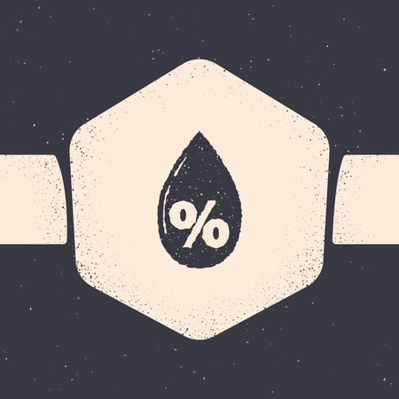 Grunge Water drop percentage icon isolated on grey background. Humidity analysis. Monochrome vintage drawing. Vector Illustration