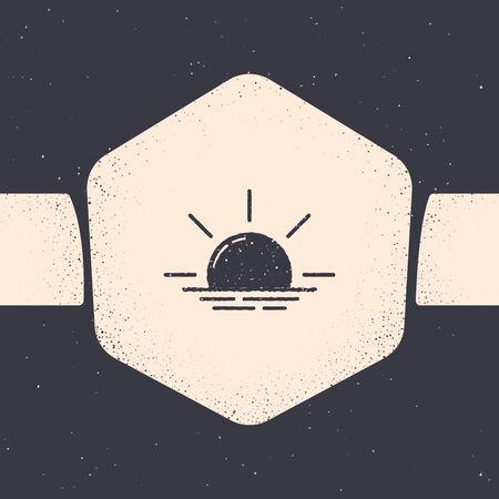 Grunge Sunrise icon isolated on grey background. Monochrome vintage drawing. Vector Illustration