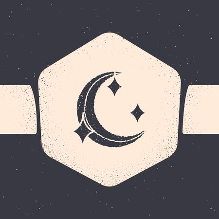 Grunge Moon and stars icon isolated on grey background. Monochrome vintage drawing. Vector Illustration Stock Vector - 129688988