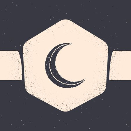 Grunge Moon and stars icon isolated on grey background. Monochrome vintage drawing. Vector Illustration