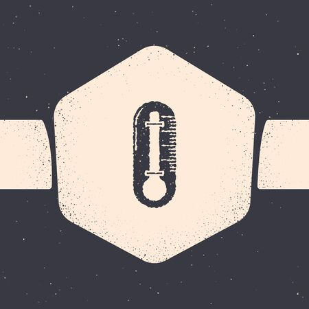 Grunge Thermometer icon isolated on grey background. Monochrome vintage drawing. Vector Illustration