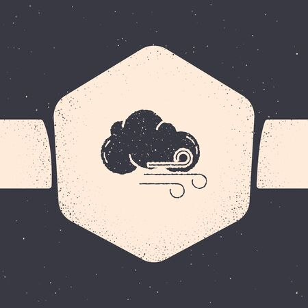Grunge Windy weather icon isolated on grey background. Cloud and wind. Monochrome vintage drawing. Vector Illustration Иллюстрация