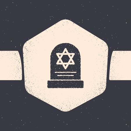 Grunge Tombstone with star of david icon isolated on grey background. Jewish grave stone. Gravestone icon. Monochrome vintage drawing. Vector Illustration