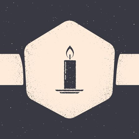 Grunge Burning candle in candlestick icon isolated on grey background. Old fashioned lit candle. Cylindrical candle stick with burning flame. Monochrome vintage drawing. Vector Illustration