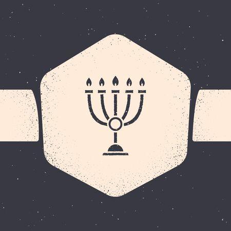 Grunge Hanukkah menorah icon isolated on grey background. Hanukkah traditional symbol. Holiday religion, jewish festival of Lights. Monochrome vintage drawing. Vector Illustration