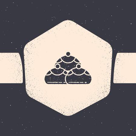 Grunge Jewish sweet bakery icon isolated on grey background. Hanukkah sufganiyot. Jewish easter cake. Monochrome vintage drawing. Vector Illustration