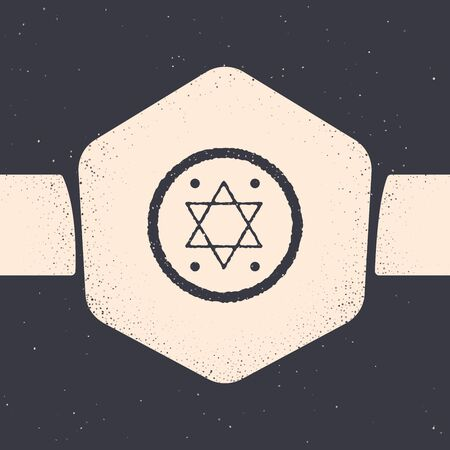 Grunge Jewish coin icon isolated on grey background. Currency symbol. Monochrome vintage drawing. Vector Illustration Archivio Fotografico - 129689235