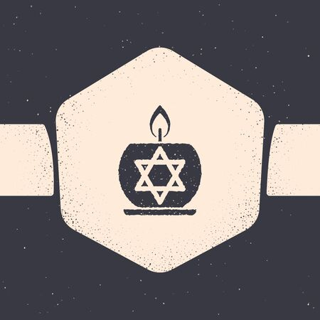 Grunge Burning candle in candlestick with star of david icon isolated on grey background. Cylindrical candle stick with burning flame. Monochrome vintage drawing. Vector Illustration Stock fotó - 129689237