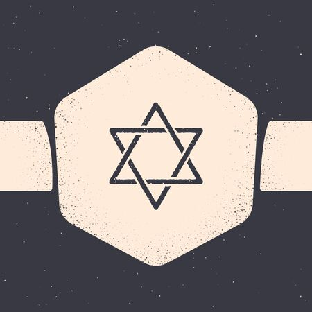 Grunge Star of David icon isolated on grey background. Jewish religion symbol. Symbol of Israel. Monochrome vintage drawing. Vector Illustration