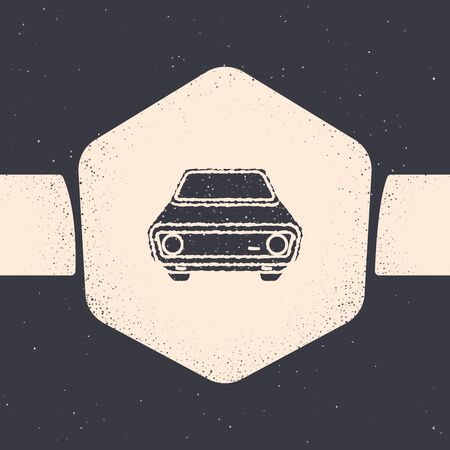 Grunge Car icon isolated on grey background. Front view. Monochrome vintage drawing. Vector Illustration