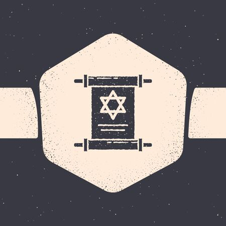 Grunge Torah scroll icon isolated on grey background. Jewish Torah in expanded form. Star of David symbol. Old parchment scroll. Monochrome vintage drawing. Vector Illustration Archivio Fotografico - 129689417