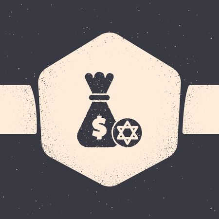 Grunge Jewish money bag with star of david and coin icon isolated on grey background. Currency symbol. Monochrome vintage drawing. Vector Illustration
