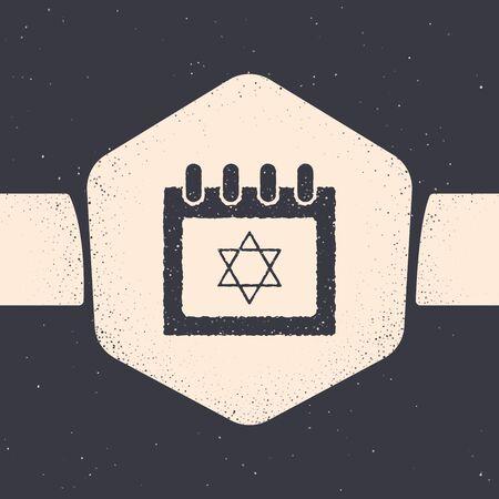 Grunge Jewish calendar with star of david icon isolated on grey background. Hanukkah calendar day. Monochrome vintage drawing. Vector Illustration Illusztráció