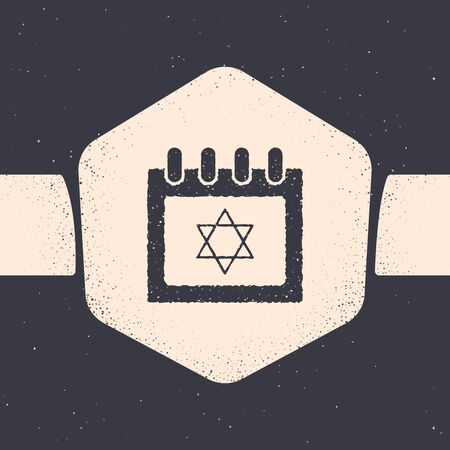 Grunge Jewish calendar with star of david icon isolated on grey background. Hanukkah calendar day. Monochrome vintage drawing. Vector Illustration Illustration