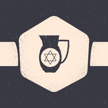 Grunge Decanter with star of david icon isolated on grey background. Pottery jug. Organic product in carafe. Monochrome vintage drawing. Vector Illustration