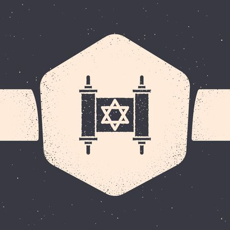 Grunge Torah scroll icon isolated on grey background. Jewish Torah in expanded form. Star of David symbol. Old parchment scroll. Monochrome vintage drawing. Vector Illustration Archivio Fotografico - 129689427