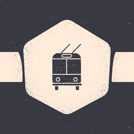 Grunge Trolleybus icon isolated on grey background. Public transportation symbol. Monochrome vintage drawing. Vector Illustration Banque d'images - 129689735