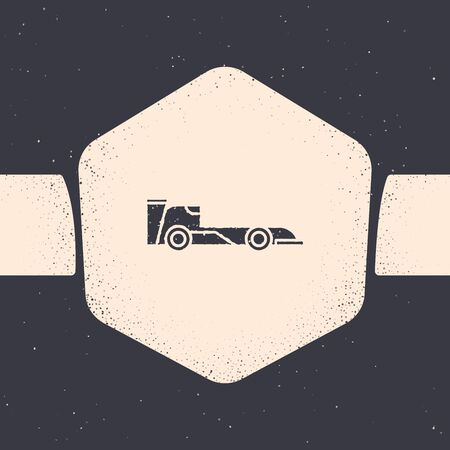 Grunge Formula race car icon isolated on grey background. Monochrome vintage drawing. Vector Illustration