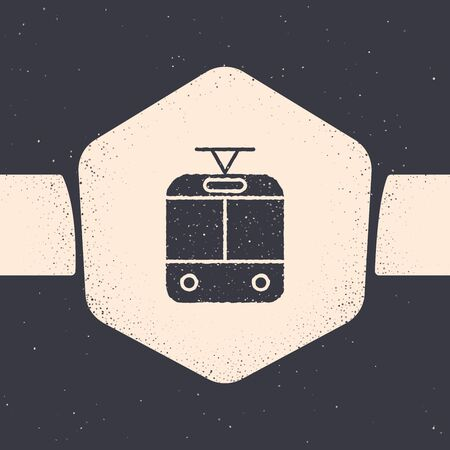 Grunge Tram and railway icon isolated on grey background. Public transportation symbol. Monochrome vintage drawing. Vector Illustration